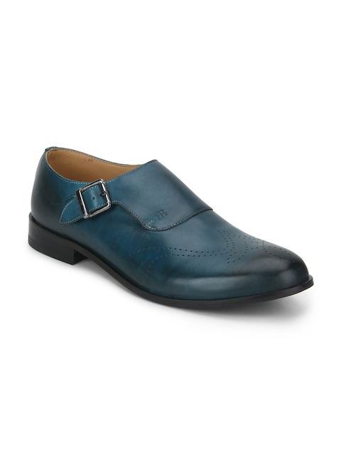 Raymond Men Teal Round-Toed Leather Monk Shoes