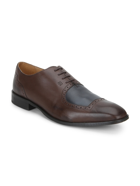 Raymond Men Brown Round-Toed Leather Oxfords