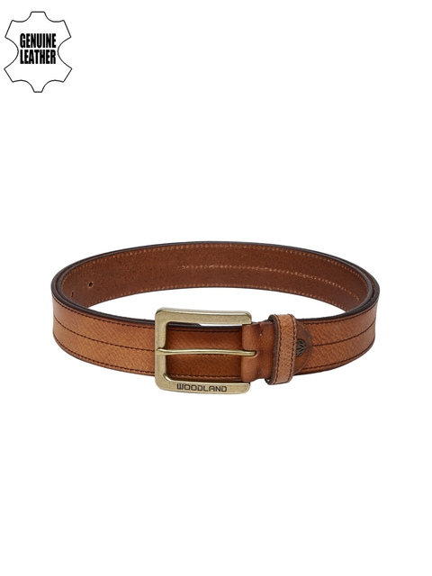 Woodland Men Brown Textured Belt