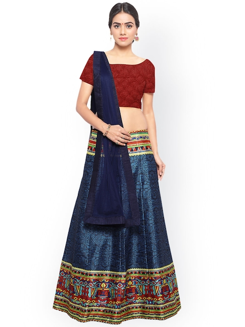 Styles Closet Blue & Red Printed Semi-Stitched Lehenga & Unstitched Blouse with Dupatta