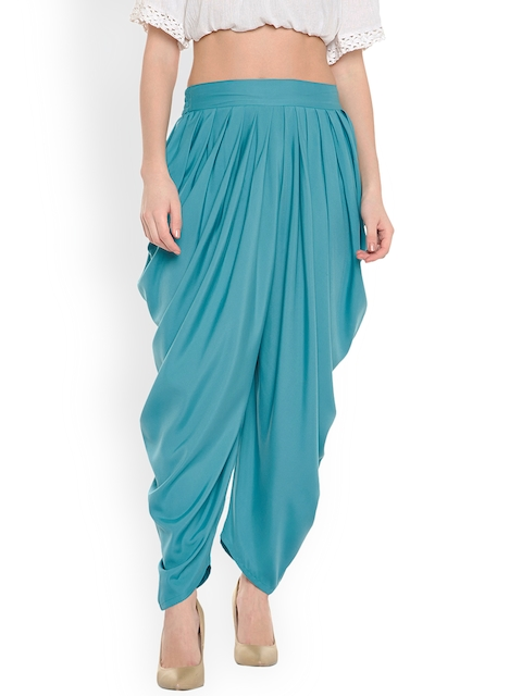 Bitterlime Women Sea Green Solid Pleated Dhoti Pants