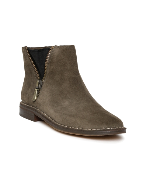 Clarks Women Olive Brown Solid Suede Mid-Top Flat Boots