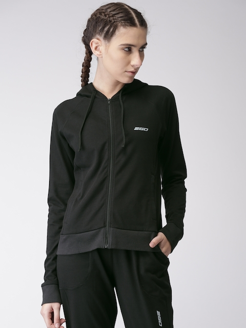 2GO Women Black Slim Fit Training Sweatshirt