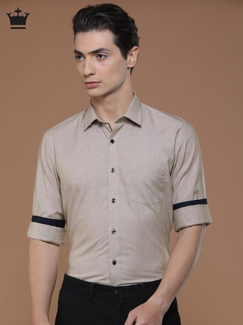 Louis Philippe Men Beige Slim Fit Self Design Casual Shirt