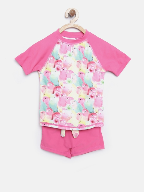 mothercare Girls Pink & Green Parrot Print UPF 50+ Swim Suit HB102
