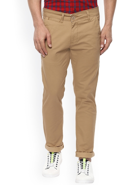 Mufti Men Tan Slim Fit Solid Chinos