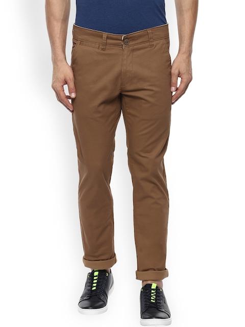 Mufti Men Brown Slim Fit Solid Regular Trousers