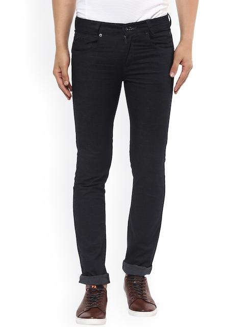 Mufti Men Navy Skinny Fit Solid Regular Trousers