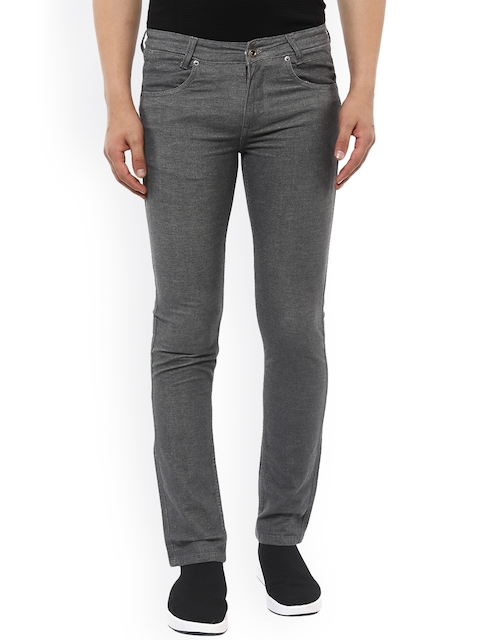 Mufti Men Grey Skinny Fit Solid Chinos