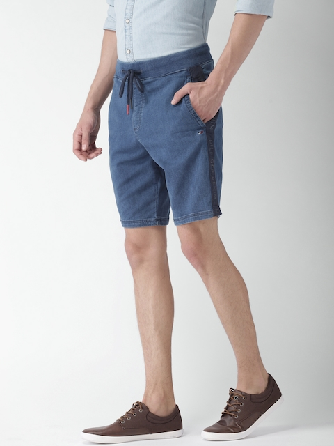 Tommy Hilfiger Men Blue Solid Regular Fit Denim Shorts