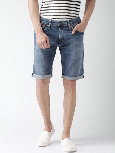 Tommy Hilfiger Men Blue Solid Slim Fit Denim Shorts