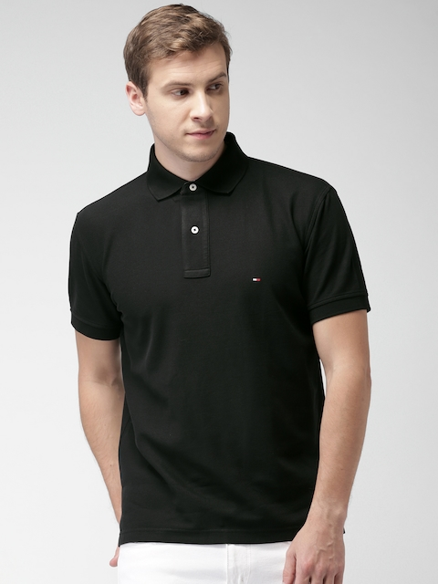 Tommy Hilfiger Men Black Solid Polo Collar T-shirt