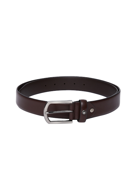 Louis Philippe Men Brown Solid Formal Leather Belt