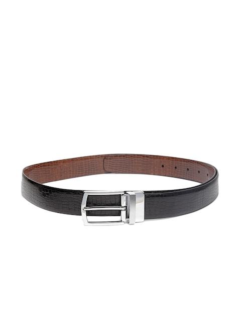Louis Philippe Men Black & Brown Leather Textured Reversible Belt