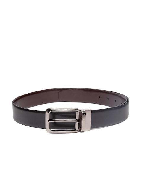 Louis Philippe Men Black & Coffee Brown Leather Reversible Belt