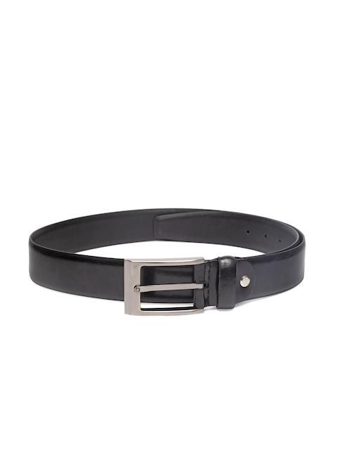 Louis Philippe Men Black Leather Solid Belt
