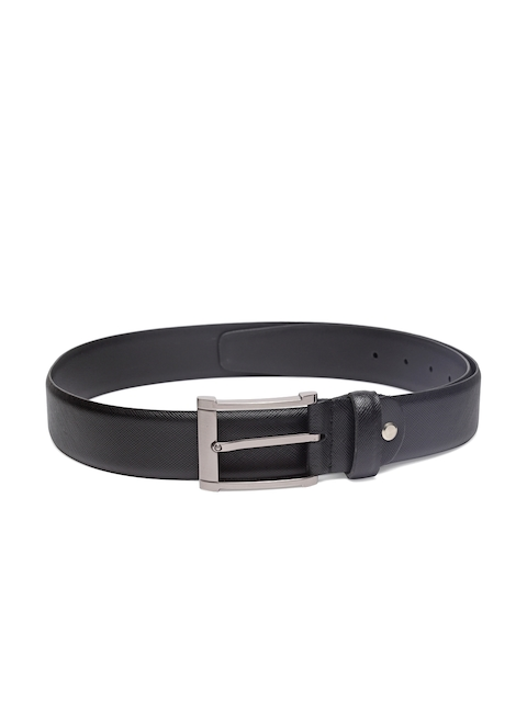 Louis Philippe Men Black Leather Solid Belt