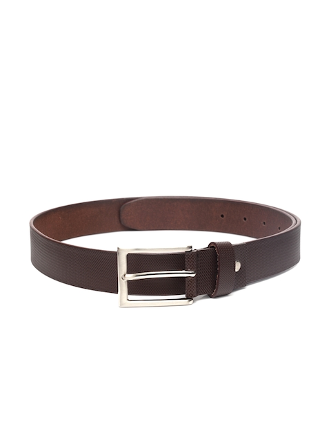 Louis Philippe Men Brown Textured Leather Belt