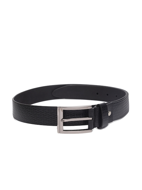 Louis Philippe Men Black Leather Textured Belt