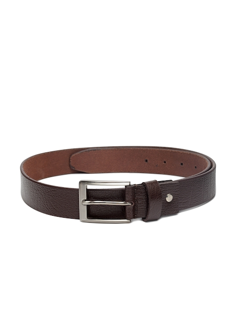 Louis Philippe Men Brown Leather Solid Belt