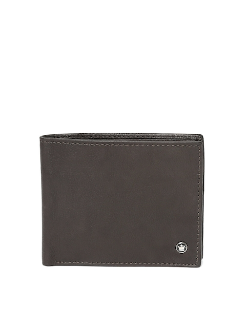 Louis Philippe Men Coffee Brown Solid Genuine Leather Two Fold Wallet