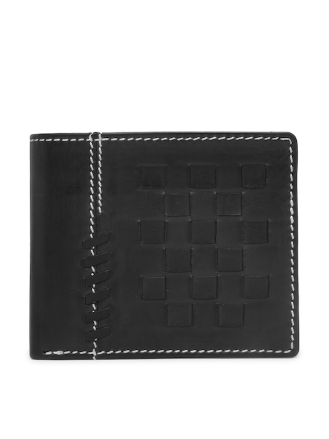 Louis Philippe Men Black Self Design Two Fold Leather Wallet