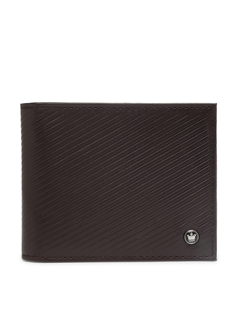 Louis Philippe Men Brown Textured Leather Card Holder