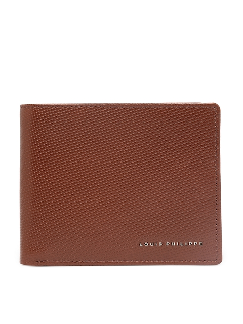 Louis Philippe Men Brown Textured Leather Wallet