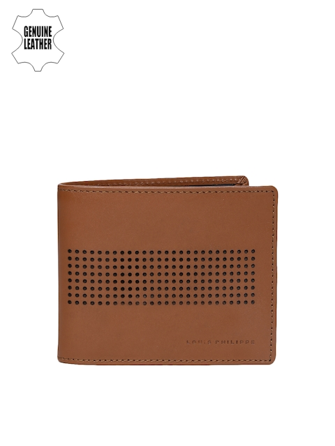 Louis Philippe Men Tan Brown Genuine Leather Card Holder with Cut-Out Detail