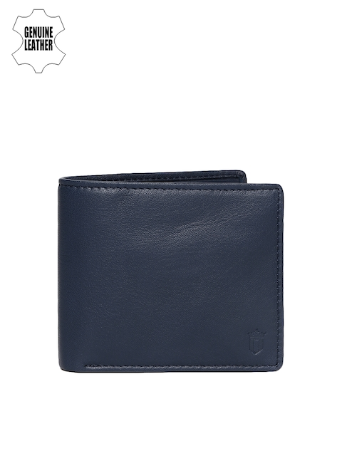 Louis Philippe Men Navy Blue Genuine Leather Two Fold Wallet