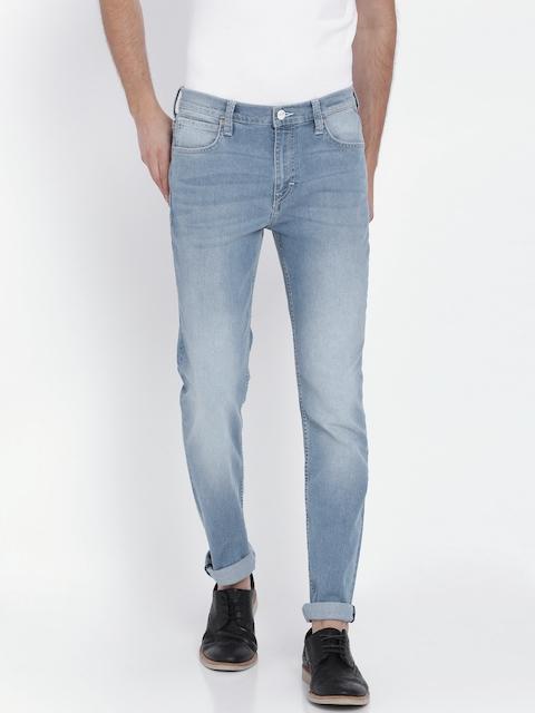 Lee Men Blue Bruce Skinny Fit Mid-Rise Clean Look Jeans
