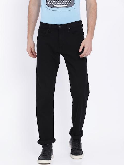 Lee Men Black Regular Fit Mid-Rise Clean Look Stretchable Jeans