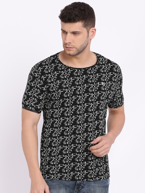 Wrangler Men Black Printed Round Neck T-shirt