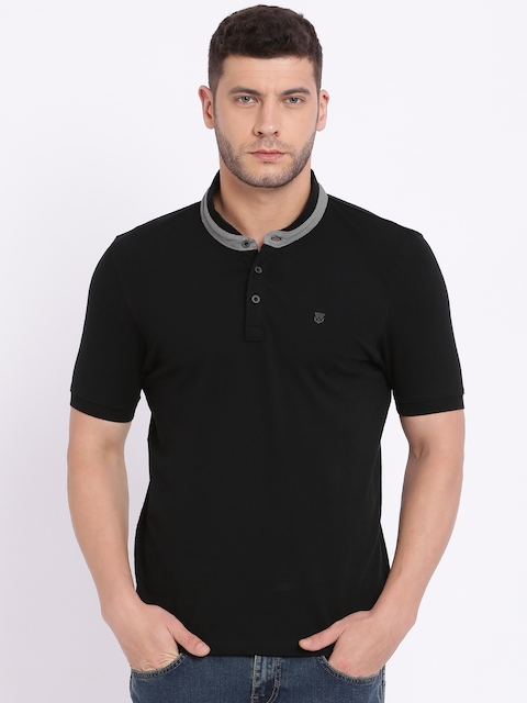 Wrangler Men Black Solid Mandarin Collar T-shirt