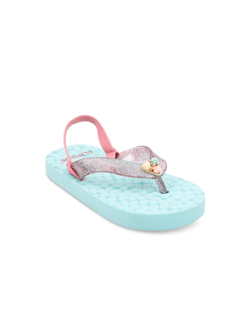 Flipside Girls Green & Pink Solid Thong Flip-Flops