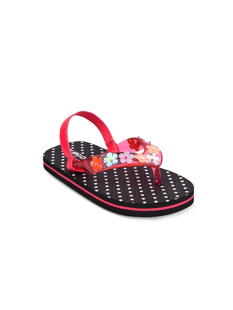 Flipside Girls Pink & Black Printed Thong Flip-Flops