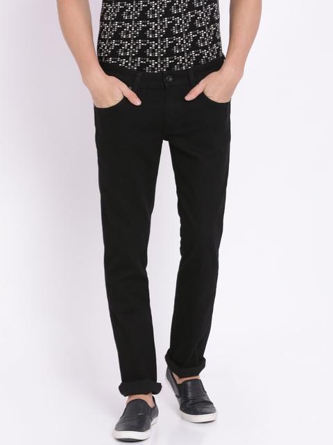 Wrangler Men Black Rockville Regular Fit Low-Rise Clean Look Stretchable Jeans
