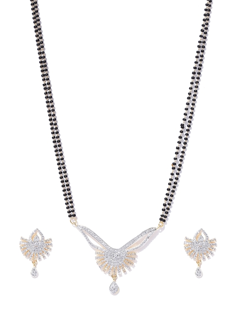 YouBella Black & Gold-Toned Beaded Mangalsutra Set