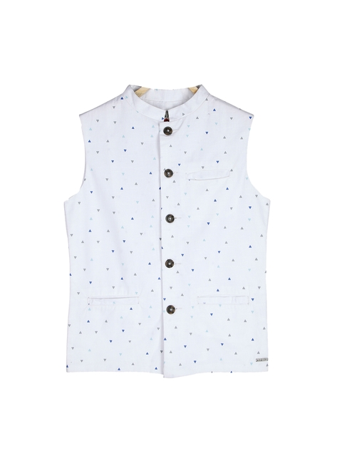 Gini and Jony Boys White Printed Open Front Jacket
