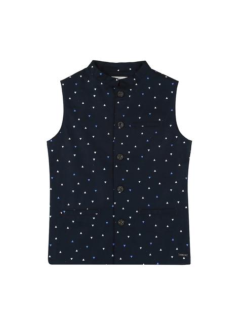 Gini and Jony Boys Navy Blue Printed Open Front Jacket