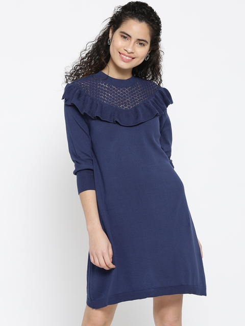 United Colors of Benetton Women Navy Solid A-Line Dress
