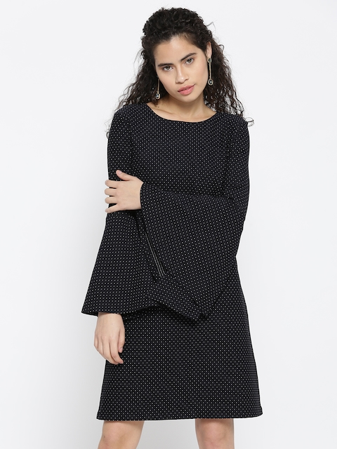 United Colors of Benetton Women Navy Patterned A-Line Dress