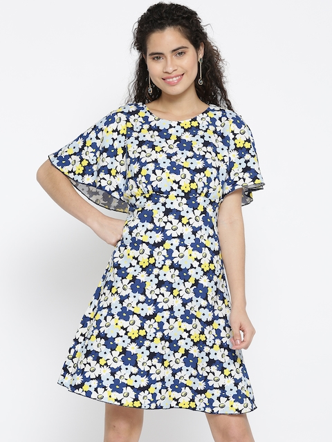 United Colors of Benetton Women Blue & Yellow Printed A-Line Dress