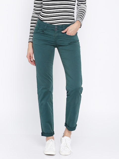 Being Human Clothing Women Green Slim Fit Chino Trousers