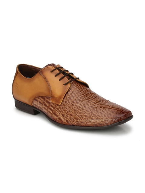 Hitz Men Tan Leather Formal Shoes
