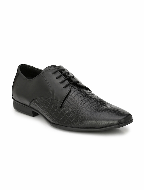 Hitz Men Black Leather Formal Shoes