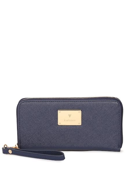 Van Heusen Woman Women Navy Blue Textured Zip Around Wallet