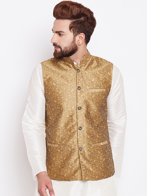 SOJANYA Gold-Toned Woven Design Nehru Jacket