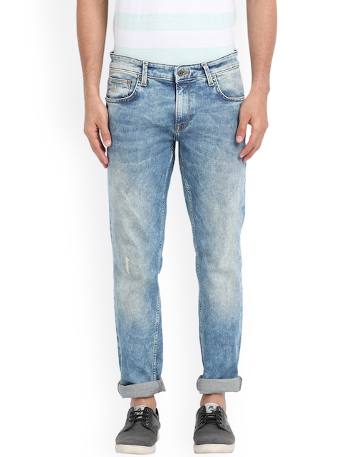 Indian Terrain Men Blue Slim Fit Low-Rise Low Distress Jeans