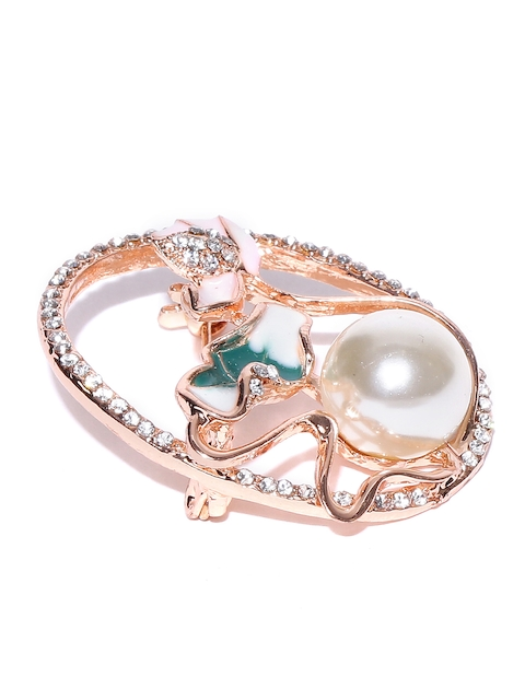 Golden Peacock Women Off-White Rose Gold-Plated Stone-Studded Brooch